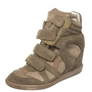 Isabel Marant Grey Suede And Leather Bekett Wedge Sneakers Size 38