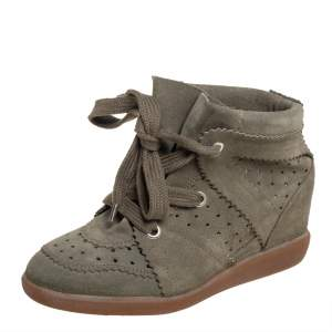 Isabel Marant Olive Green Suede Bobby Wedge Sneakers Size 37