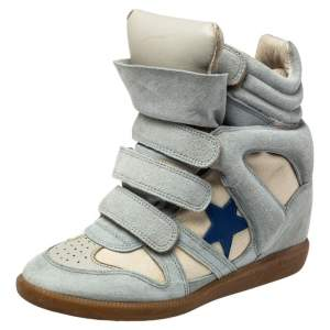 Isabel Marant Blue/Cream Suede And Canvas Bekett Sneakers Size 37