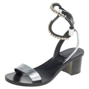 Isabel Marant Silver Crackle Leather Crystal Embellished Ankle Strap Sandals Size 37