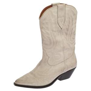 Isabel Marant Cream Duerto Embroidered Leather Boots Size 39
