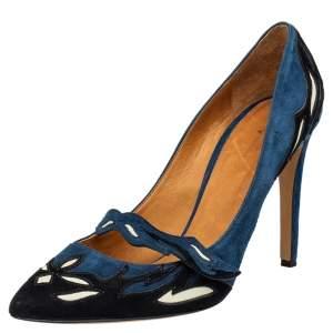 حذاء كعب عالي إيزابيل مارانت كايلي سويدي أزرق / أسود بمقدمة مدببة مقاس 40