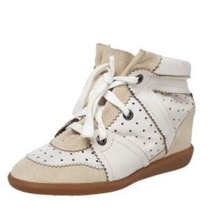 Isabel Marant White/Grey Leather And Suede Bobby Wedge Sneakers Size 39