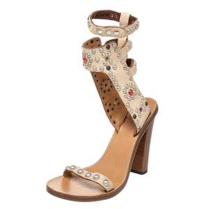 Isabel Marant Beige Studded Leather Jaeryn Ankle Strap Sandals Size 40