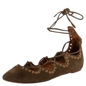 Isabel Marant Brown Suede Leo Eyelet Ankle Wrap Ballet Flats Size 38