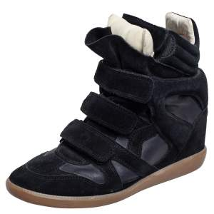 Isabel Marant Black Suede and Leather Bekett Wedge Sneakers Size 39