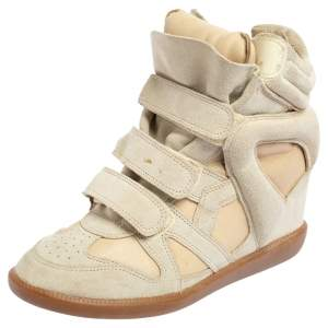 Isabel Marant Cream Suede and Leather Bekett Wedge Sneakers Size 40