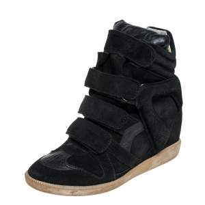 Isabel Marant Black Suede And Leather High Top Wedge Sneakers Size 36
