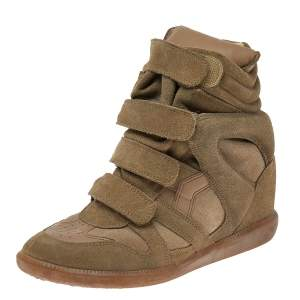 Isabel Marant Beige Suede and Leather Bekett High Top Sneakers Size 41