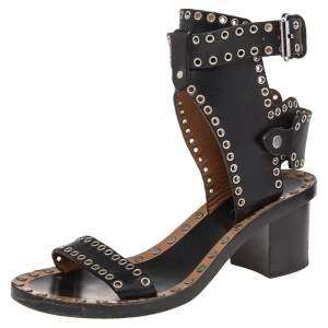 Isabel Marant Black Studded Leather Jaeryn Ankle Strap Sandals Size 37