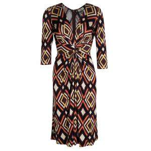 Issa Multicolor Geometric Printed Silk Jersey Draped Front Dress S