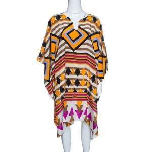 Issa Multicolor Printed Silk Kaftan Tunic ( Free Size )
