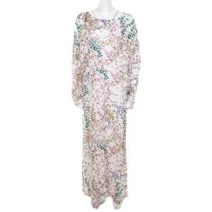 Issa White Butterfly Printed Dolman Sleeve Kaftan Maxi Dress M