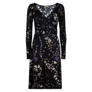 فستان عيسى لندن حرير أسود فراشات مطبوعة ملتف S