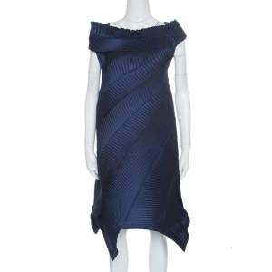 Issey Miyake Navy Blue Pleated Boat Neck Asymmetric Dress S