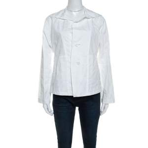 Issey Miyake White Textured Cotton Long Sleeve Jacket M