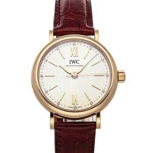 IWC Silver 18K Rose Gold Portofino IW3574-01 Women's Wristwatch 34 MM