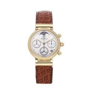 IWC White 18K Yellow Gold Da Vinci Moon Phase IW3736-01 Women's Wristwatch 29 MM