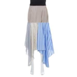 J.W.Anderson Multicolor Striped Cotton and Silk Handkerchief Skirt S