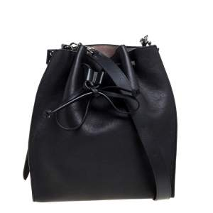 J.W. Anderson Black Leather Drawstring Bucket Bag