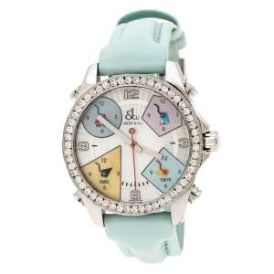 Jacob & Co. Multicolor Mother of Pearl Stainless Steel Diamond Five Time Zones Women's Wristwatch 40 mm