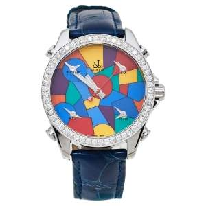Jacob & Co. Multicolor Dial Stainless Steel Diamonds Five Time Zone Women's Wristwatch 40 mm