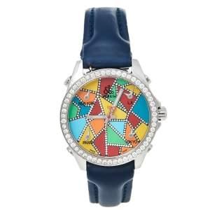 ساعة يد نسائية جاكوب & كو. 5 تايم زون ألماس ستانلس ستيل متعدد الألوان 40 مم