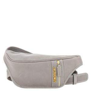 Jacquemus Grey Leather La Banana Logo Plaque Belt Bag