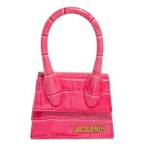 Jacquemus Pink Croc Embossed Leather Le Chiquito Mini Bag