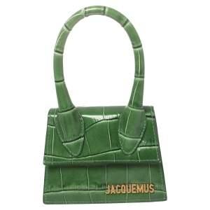 Jacquemus Green Croc Embossed Leather Le Chiquito Mini Bag