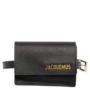 Jacquemus Black Leather La Riviera Double Tour Belt Bag