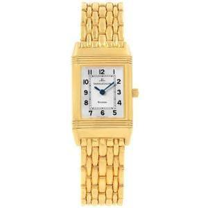 ساعة يد نسائية ياجر لي كولتر ريفرسو ذهب أصفر عيار 18 فضية 20.5 مم