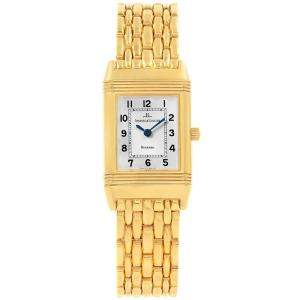 Jaeger LeCoultre Silver 18K Yellow Gold Reverso Women's Wristwatch 20.5MM