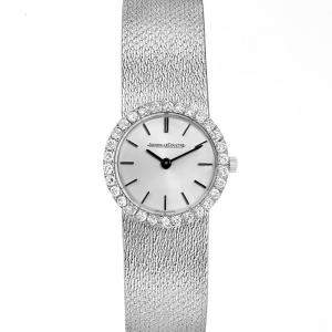 Jaeger LeCoultre Silver Diamonds Pave 18K White Gold Women's Wristwatch 23 MM