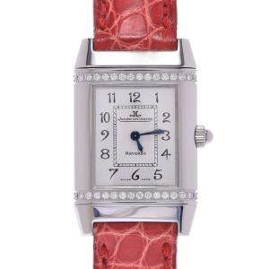 Jaeger-LeCoultre Silver Diamonds Stainless Steel Reverso 265.8.080 Women's Wristwatch 20 x 32 MM
