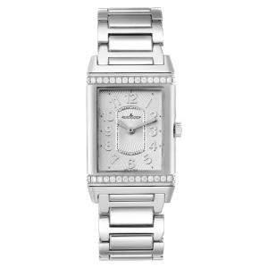 Jaeger LeCoultre Silver Diamonds Stainless Steel Reverso Ultra Thin 268.8.86 Q3208121 Women's Wristwach 39 x 24 MM