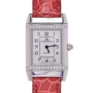 ساعة يد نسائية ياجر لي كولتر كوارتز رفرسو 265.8.080 ستانلس ستيل ألماس فضية 20 x 32 مم
