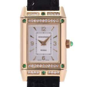 Jaeger-Lecoultre Silver Diamonds And Emerald Reverso 265.1.86 Women's Wristwatch 20 MM