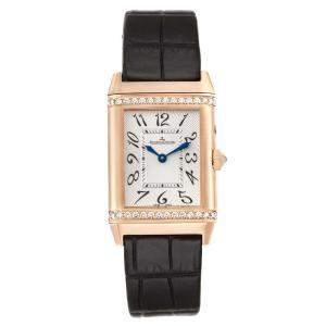 Jaeger LeCoultre Silver Diamonds 18K Rose Gold Reverso Duetto Duo Classique 269.2.54 Women's Wristwatch 25 x 40 MM