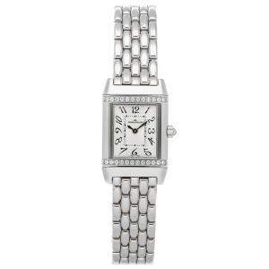 Jaeger-LeCoultre Silver Diamonds Stainless Steel Reverso Lady 2648140 Women's Wristwatch 21 x 33 MM