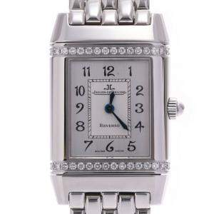 Jaeger LeCoultre Silver Diamonds Stainless Steel Reverso 265.8.080 Women's Wristwatch 20 x 22 MM