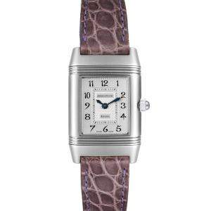 Jaeger LeCoultre Silver Diamonds Stainless Steel Reverso Duetto 266.8.44 Women's Wristwatch 21 x 33 MM