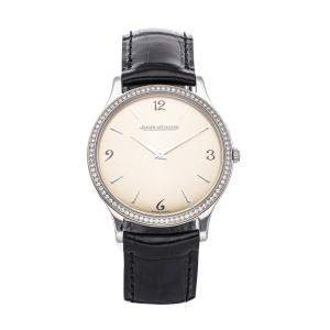 Jaeger LeCoultre Champagne Diamonds Stainless Steel Master Ultra Thin Q1458501 Women's Wristwatch 35 MM