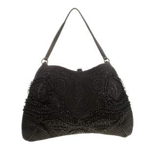 Jamin Puech Black Leather and Canvas Shoulder Bag