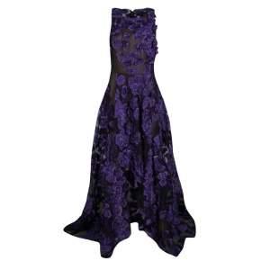 فستان سهرة جيسون ور أبليكات موردة بنفسجي وجاكار حافة غير متساوية M