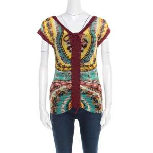 Jean Paul Gaultier Soleil Multicolor Printed Nylon Mesh Ruched Top L