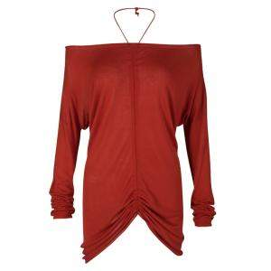 Jean Paul Gaultier Tomato Red Knit Ruched Long Sleeve Top L