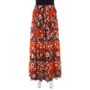 Jean Paul Gaultier Soleil Orange Floral Print Mesh Tiered Maxi Skirt M