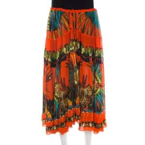 Jean Paul Gaultier Soleil Orange Floral Printed Gauze Tiered Midi Skirt M