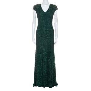 Jenny Packham Green Embellished Matador Evening Gown
